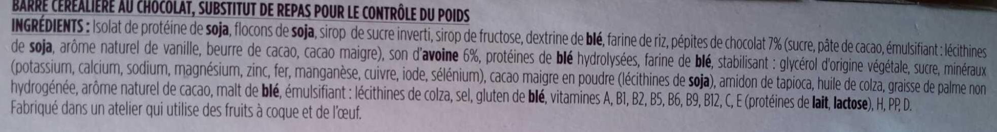 Mon repas Minceur Barre aux Céréales aux pépites de Chocolat - Ingredients - fr