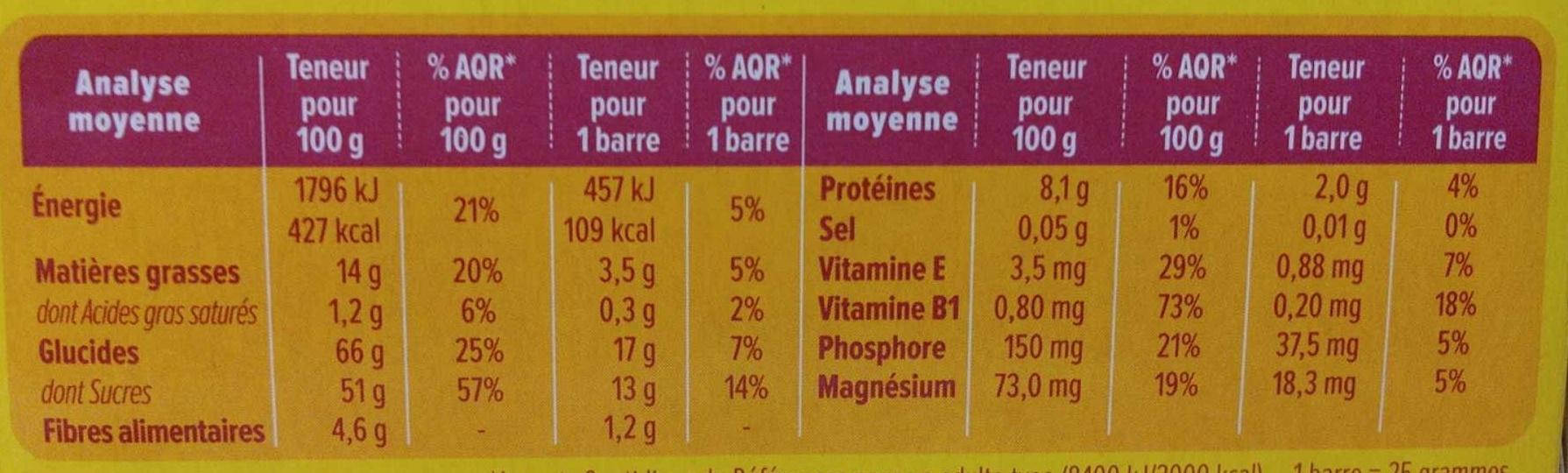 Barre amande Gerblé - Informations nutritionnelles - fr