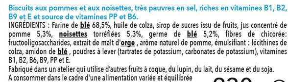 Biscuit pomme noisette - Ingrédients - fr