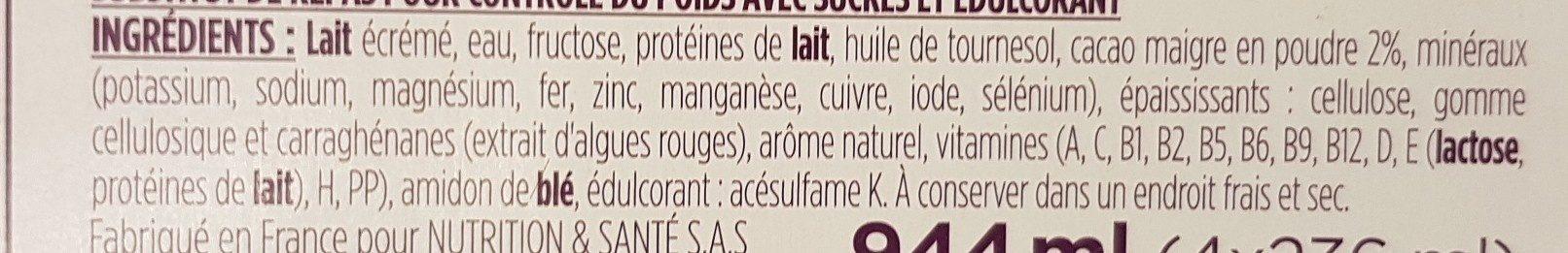 Mon Repas Minceur Boisson saveur Chocolat - Ingrédients - fr