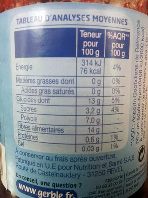 Fraise Sans sucres ajoutés - Voedingswaarden - fr