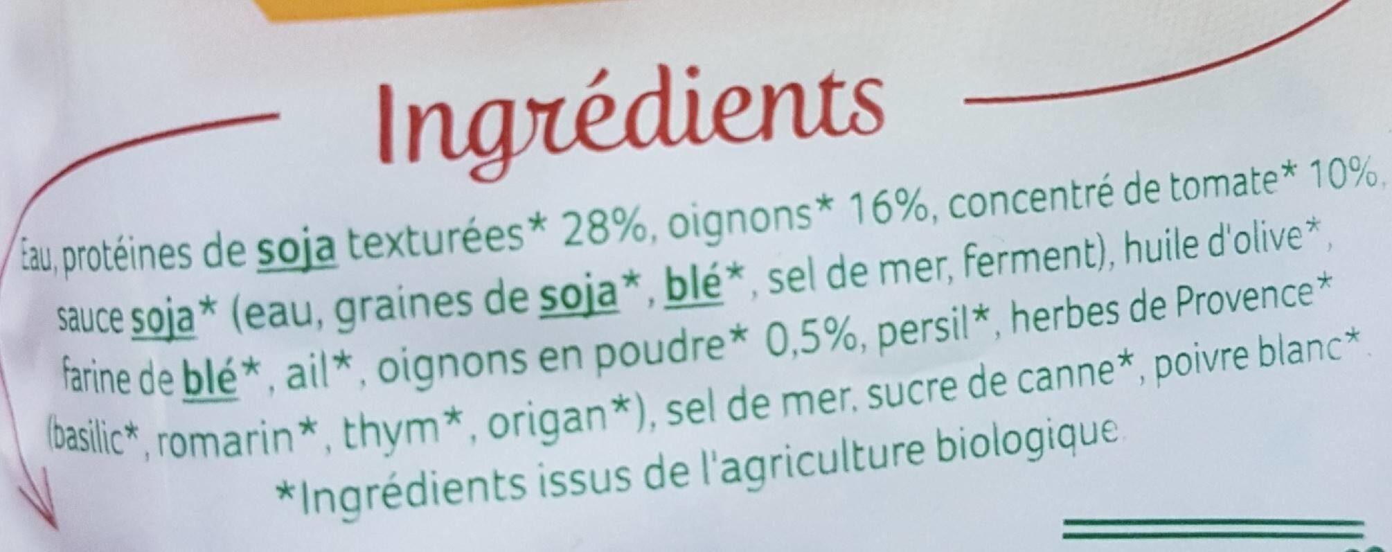 Haché végétal - Ingredients