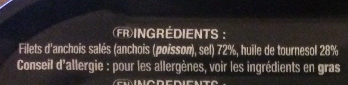 Filets d'anchois à l'huile de tournesol - Ingredients - fr