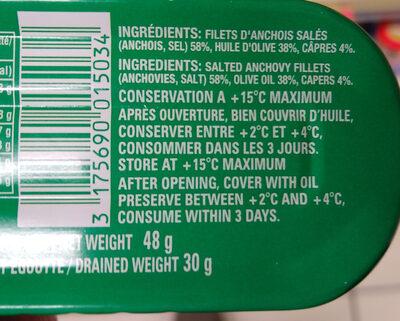 Filets d'anchois roulés aux câpres à l'huile d'olive - Ingrédients - fr