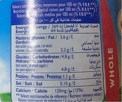Lait Entier 1 Litre - Informations nutritionnelles - fr