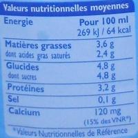 GrandLait - Lait entier stérilisé U.H.T. - Nutrition facts - fr