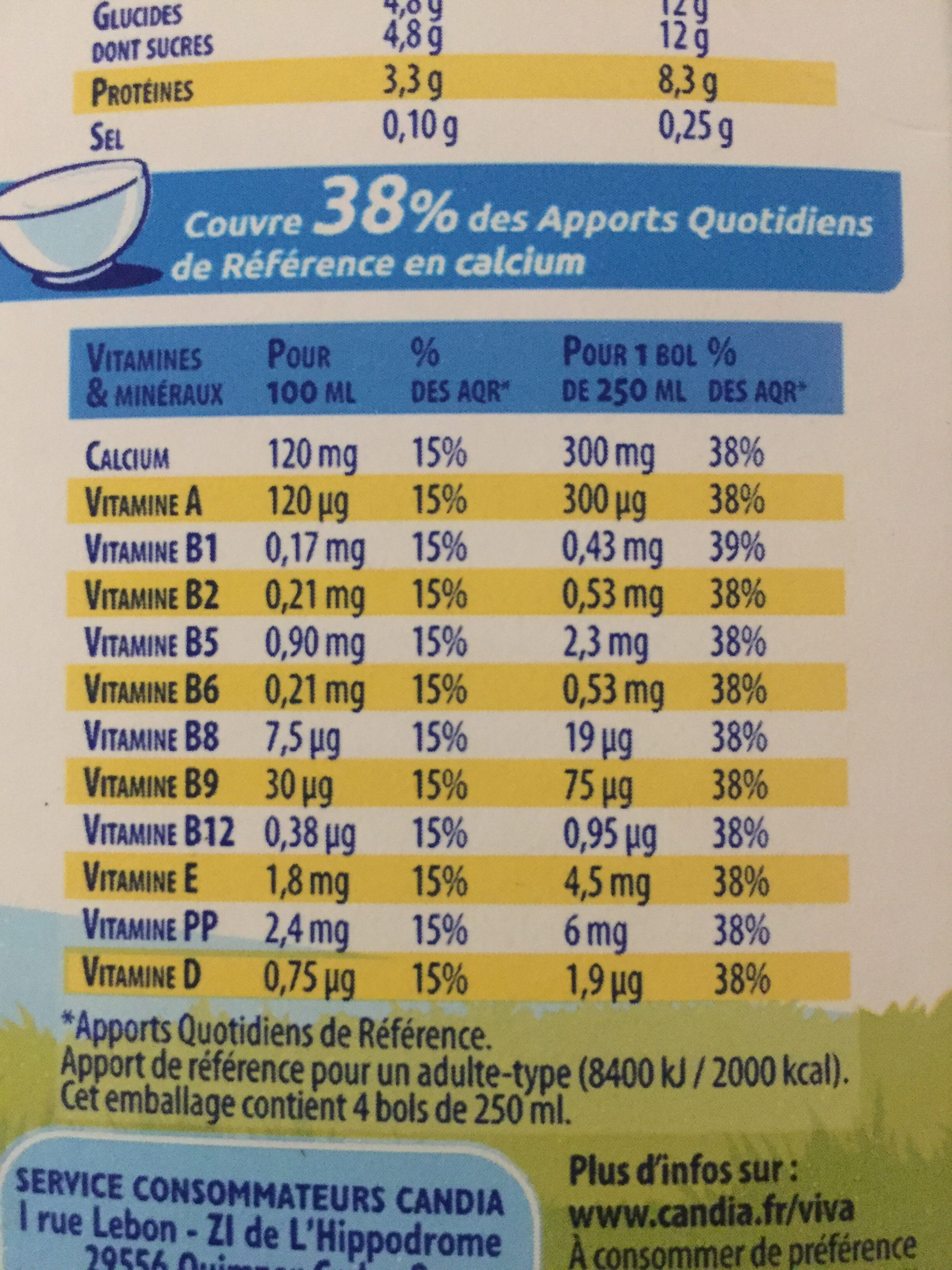 Lait viva - Nutrition facts