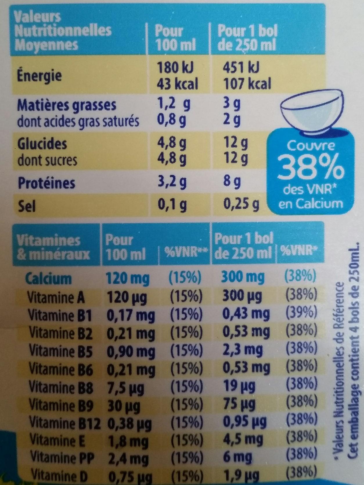 Lait viva - Informations nutritionnelles