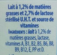 Lait demi-écrémé, stérilisé UHT, 10 vitamines - Ingrédients