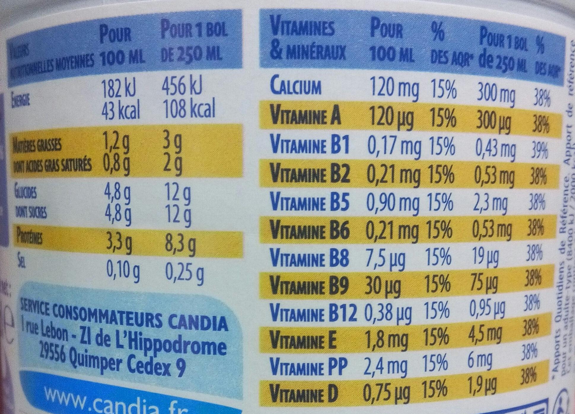 Lait demi-écrémé, stérilisé UHT, 10 vitamines - Informations nutritionnelles