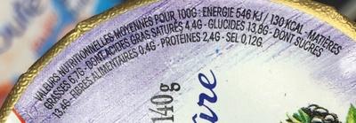 Saveur d'Autrefois, Yaourt sur lit de mûre - Informations nutritionnelles