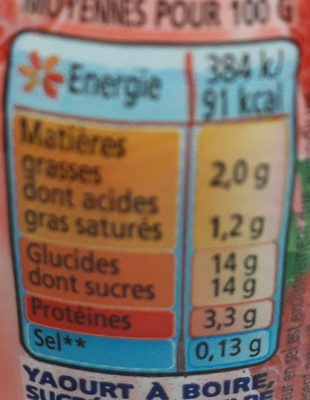 Yop Fraise - Nutrition facts - fr