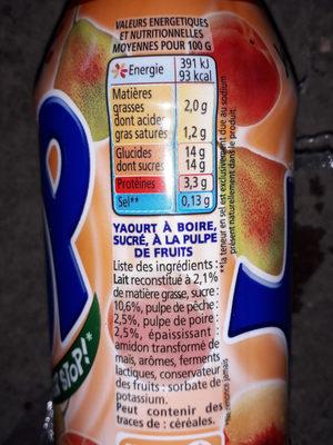 Yop Pêche-Poire - Ingrediënten - fr