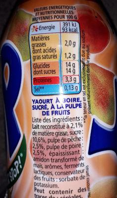 Yop Pêche-Poire - Voedingswaarden - fr