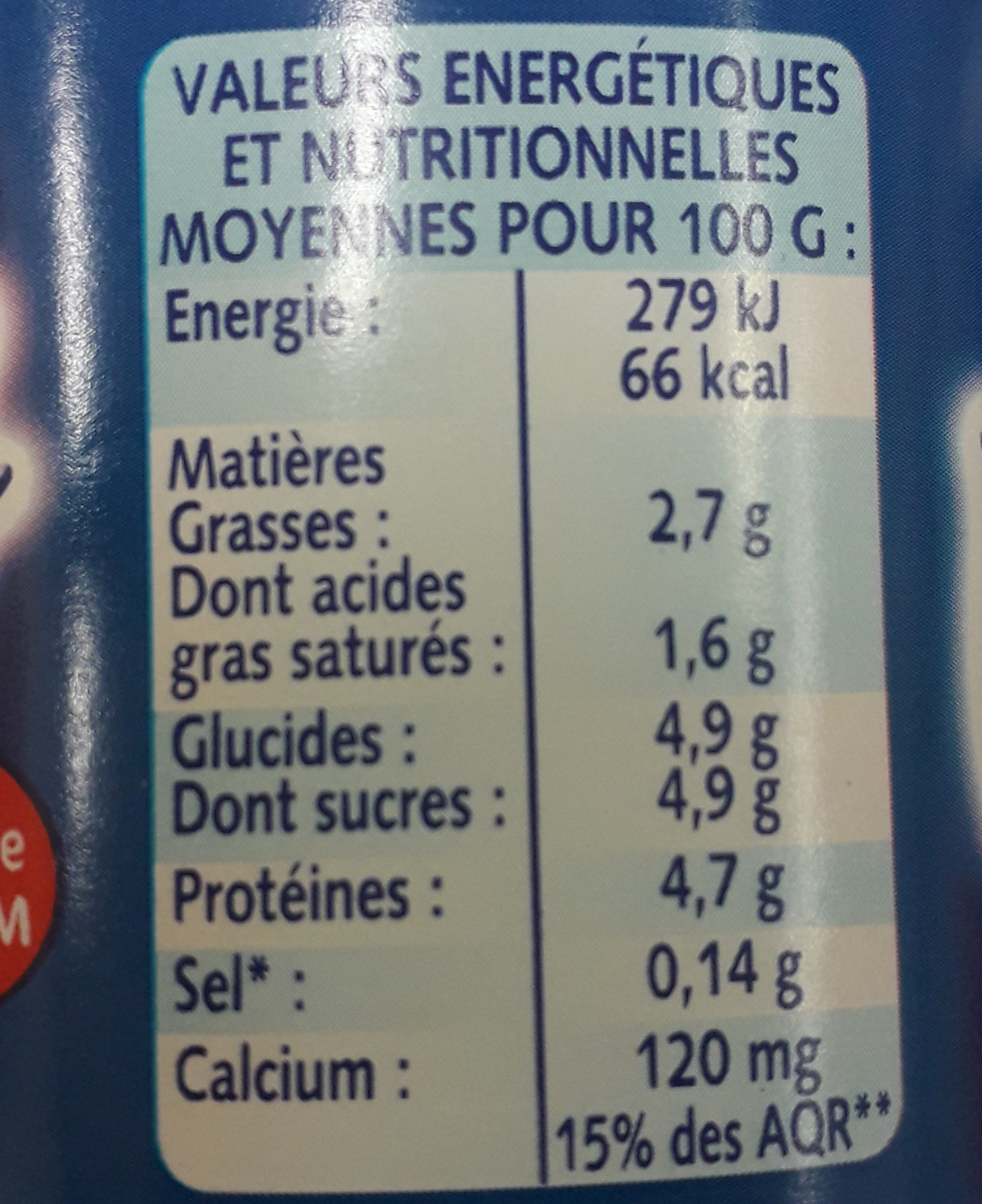 Nature - texture ferme - Valori nutrizionali - fr