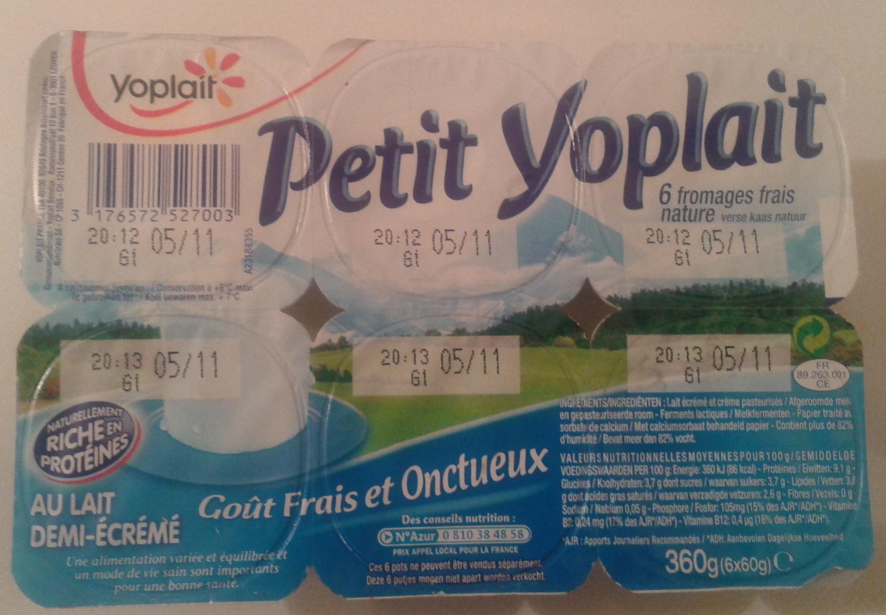 Petit Yoplait, (3,8 % MG) 6 fromages frais nature - Product - fr