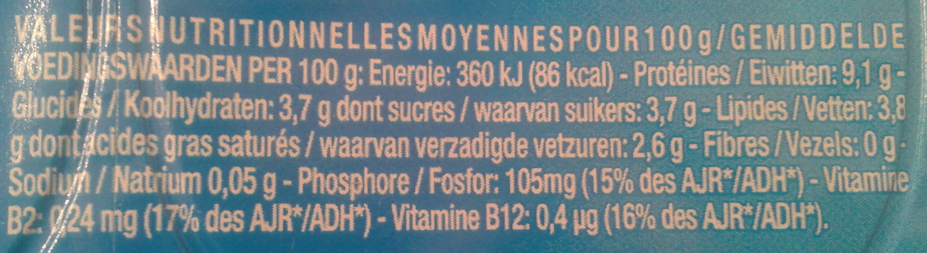 Petit Yoplait, (3,8 % MG) 6 fromages frais nature - Voedingswaarden - fr