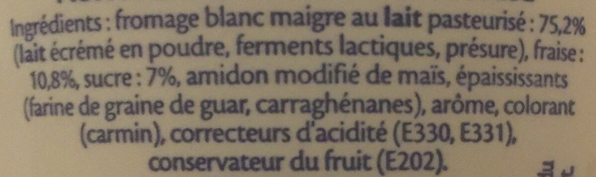 Fromage Blanc 0% Fraise - Ingredients - fr