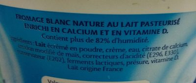 Calin - Fromage Blanc nature - Ingrédients - fr