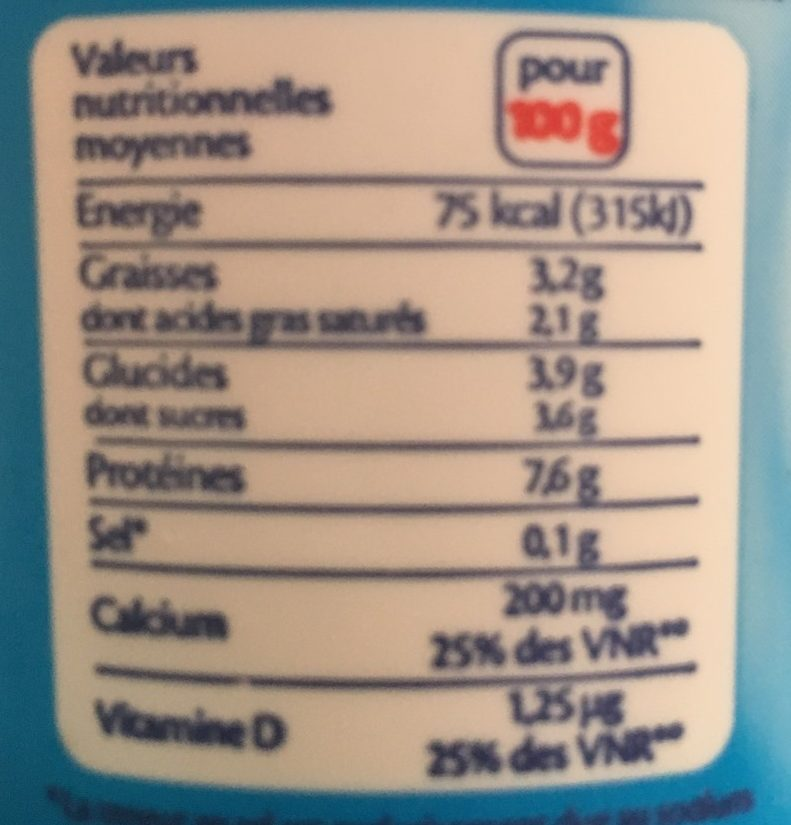 Fromage Blanc Calin Nature 3,2% M.G. - Nutrition facts - fr