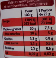 Crème fraîche épaisse entière à 30% de matière grasse - Informations nutritionnelles - fr