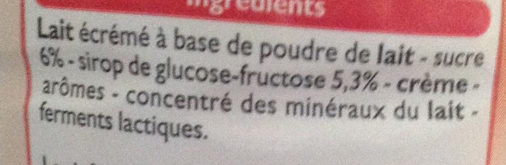 Yaourt à boire aromatisé Goût Fraise - Ingrédients
