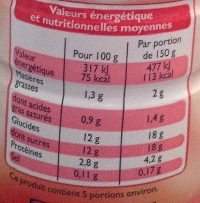 Yaourt à boire aromatisé Goût Fraise - Informations nutritionnelles