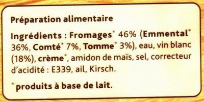 La Fondue Recette Savoyarde aux 3 Fromages - Ingredients