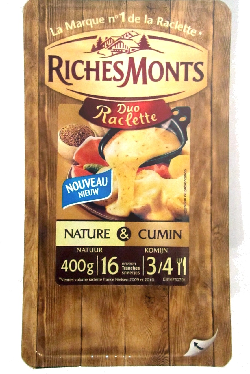Duo Raclette (26% MG) Nature & Cumin - 400 g - RichesMonts - Product