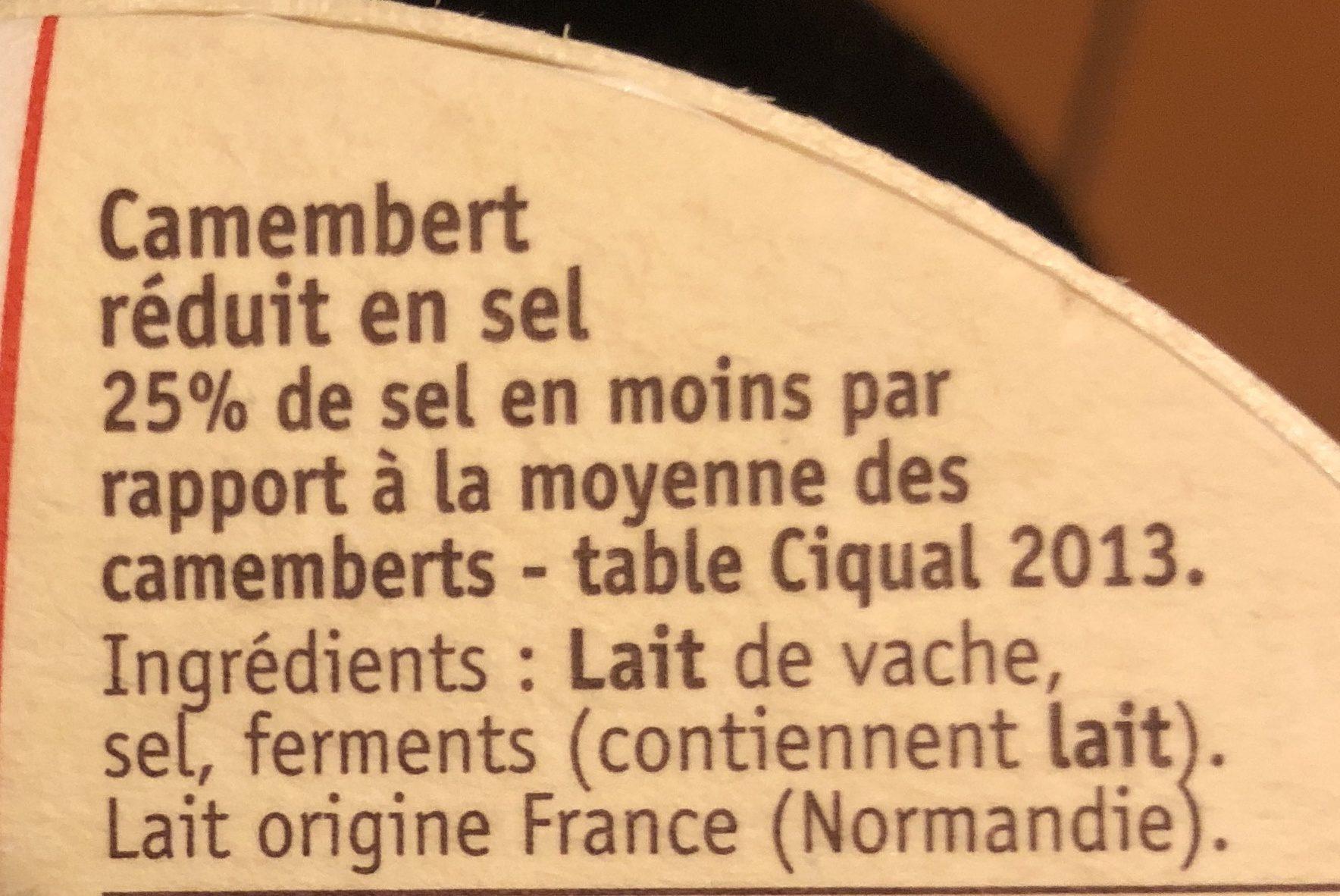Camembert Sel Réduit de 25% - Ingrédients