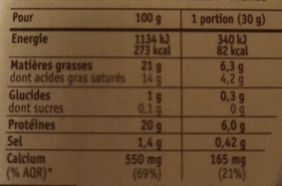 Camembert (20 % MG), Offre Gourmande - Nutrition facts - fr