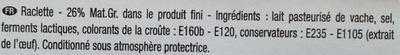 La Raclette (26% MG) Tranches XXL - Ingrédients - fr