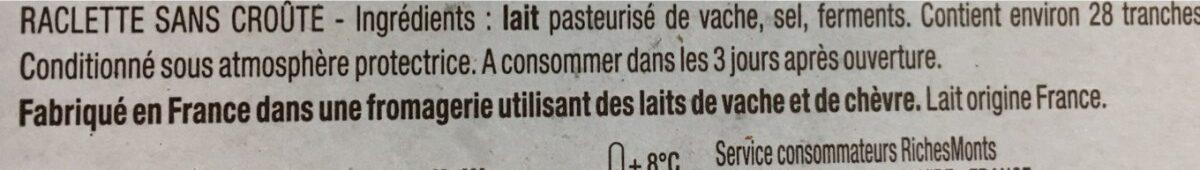 Raclette sans croûte - Ingrédients - fr