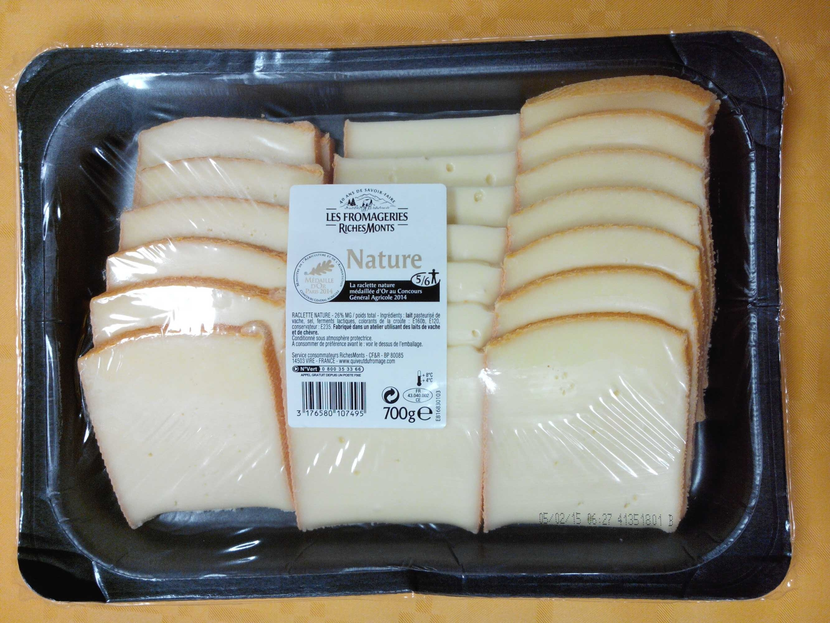 Raclette Nature 26% M.G. - Product - fr