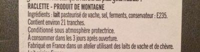 Raclette Nature 26% M.G. - Ingredients - fr