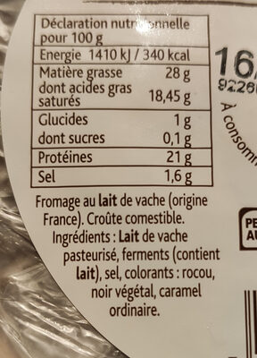 Tomme Fruitée (28 % MG) - Ingredients - fr