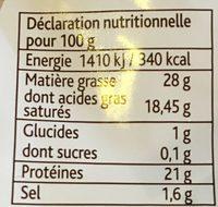 Tomme Fruitée (28 % MG) - Informations nutritionnelles