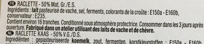 Raclette de caractère (29% MG) - Ingrédients