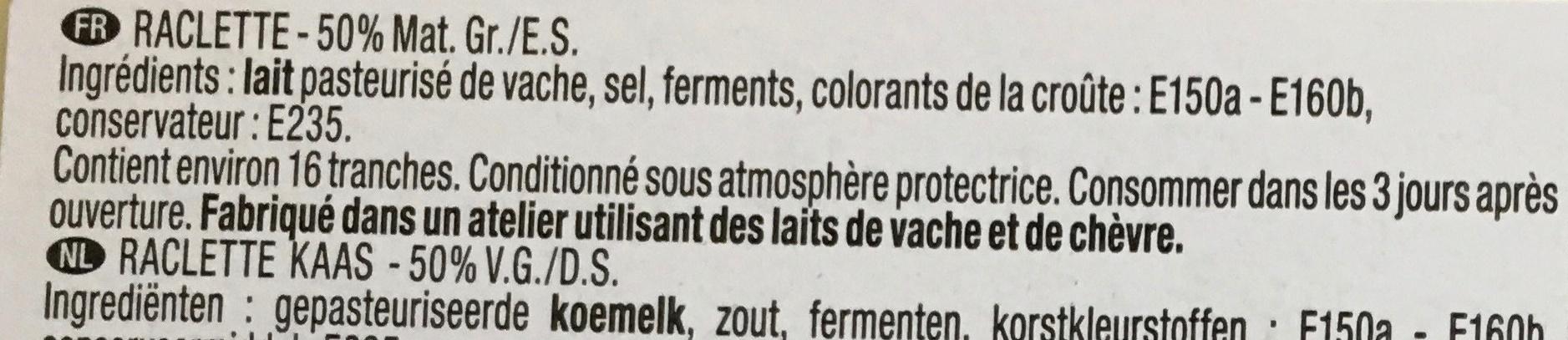 Raclette de caractère (29% MG) - Ingrédients - fr