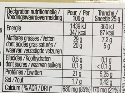 Raclette de caractère (29% MG) - Informations nutritionnelles