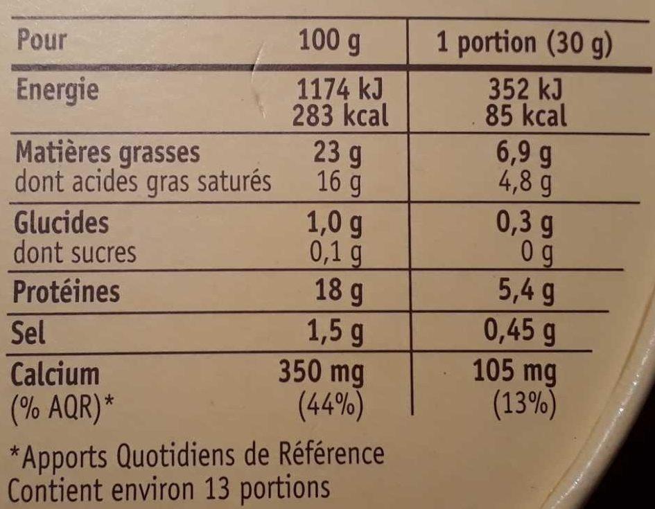 Coulommiers l'Extra-Crémeux - Informations nutritionnelles