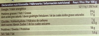Le Rustique à la Truffe noire du Périgord (24% MG) - Informations nutritionnelles