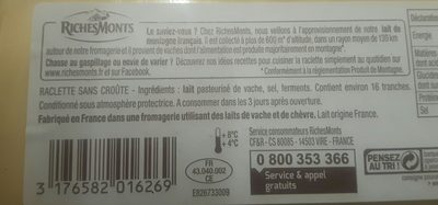 La raclette - sans croute, 16 tranches - Ingrédients - fr