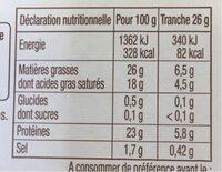 La raclette - sans croute, 16 tranches - Informations nutritionnelles - fr