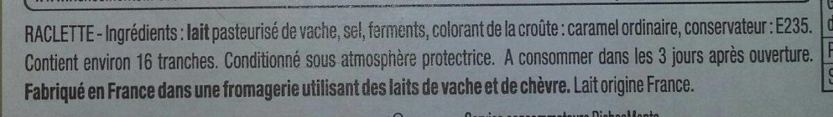 La Raclette de Caractère - Ingrédients - fr