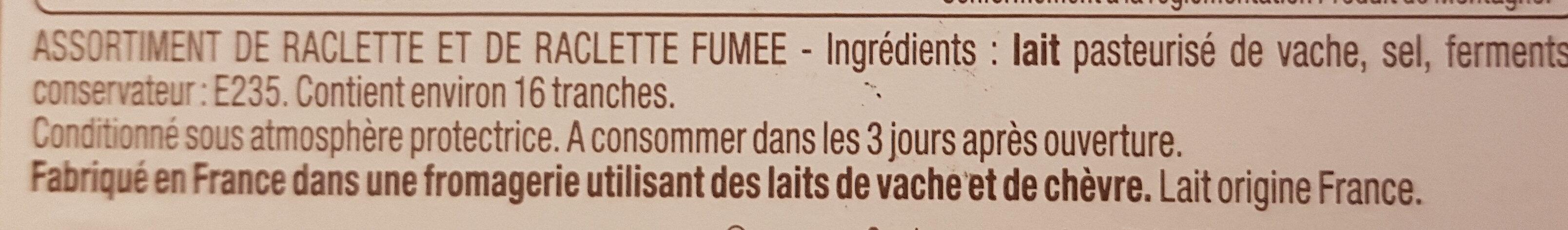 Fromage à raclette Classique & Fumée - Ingrédients - fr
