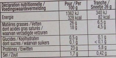Fromage à raclette Classique/fumée au bois de hêtre - Nährwertangaben - fr
