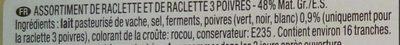 Duo raclette (3 poivres et classique) - Ingrédients - fr