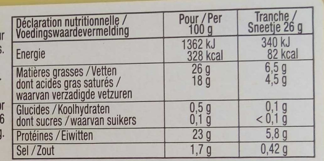 Duo raclette (3 poivres et classique) - Informations nutritionnelles - fr