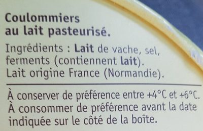 Coulommiers - Ingredients - fr